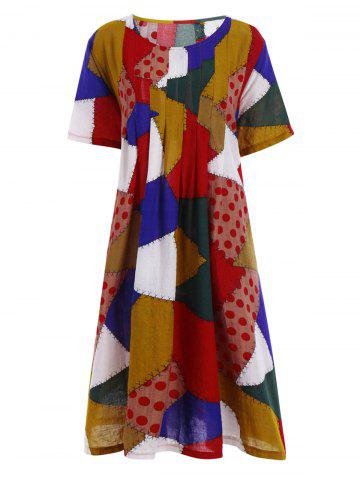 Chic Plus Size Colorful Patch Smock Dress with Pockets