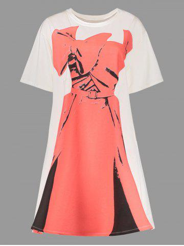 Plus Size Dress Print Graphic Tee Dress - White And Red - 3xl