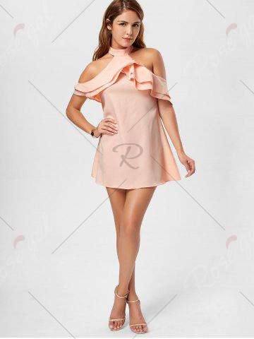 Affordable Ruffle Cold Shoulder Trapeze Mini Dress - S PINK Mobile