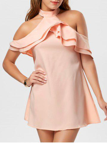 Affordable Ruffle Cold Shoulder Trapeze Mini Dress - L PINK Mobile