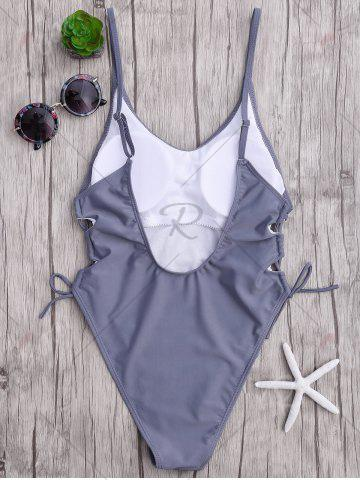 Discount High Cut Backless Lace Up Swimsuit - XL GRAY Mobile