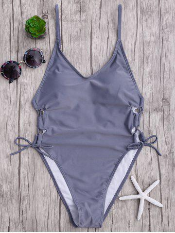 Fashion High Cut Backless Lace Up Swimsuit - XL GRAY Mobile
