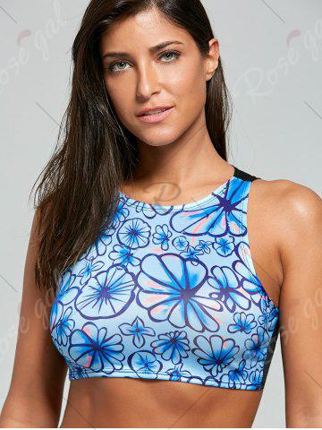 Online Floral High Waisted Sport Two Piece Swimsuit - 2XL BLACK Mobile