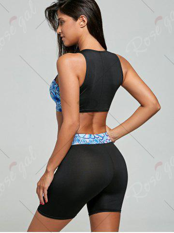 Outfit Floral High Waisted Sport Two Piece Swimsuit - 2XL BLACK Mobile