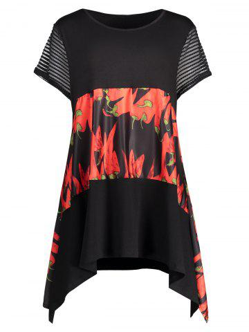 Trendy Plus Size Graphic Funny Asymmetric Tunic T-shirt RED 3XL