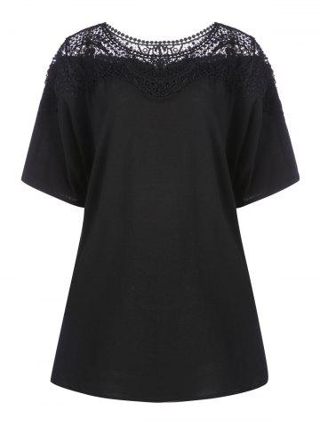 New Lace Hollow Out Plus Size Tunic T-shirt BLACK 3XL