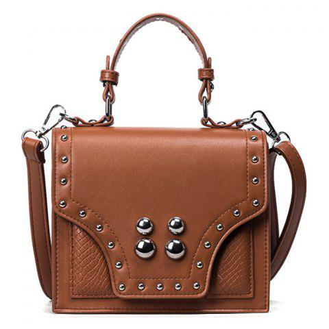 Rivet Flapped Faux Leather Handbag - Brown