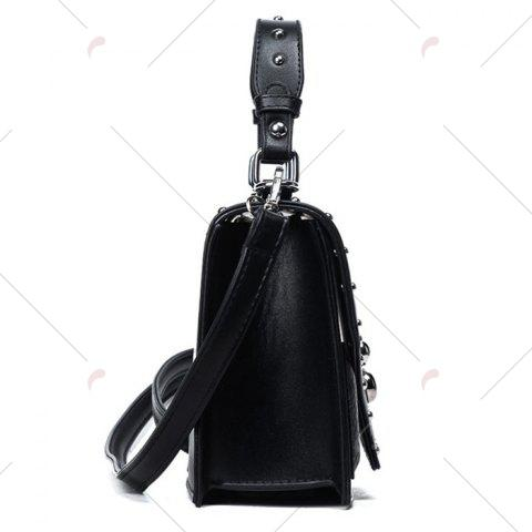 Outfits Rivet Flapped Faux Leather Handbag - BLACK  Mobile