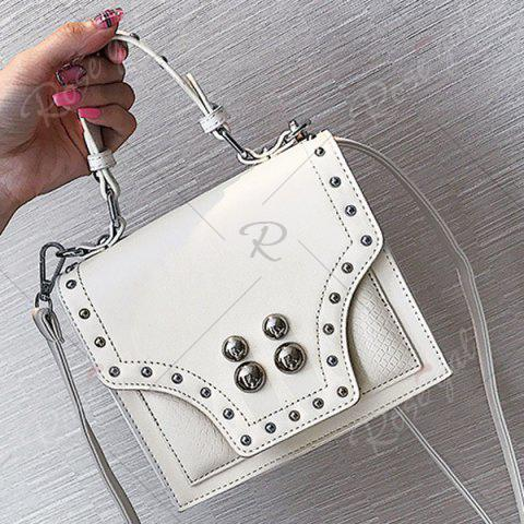 Outfit Rivet Flapped Faux Leather Handbag - WHITE  Mobile