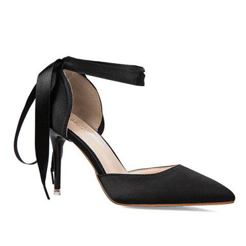 Unique Satin Two Piece Tie Up Pumps BLACK 39