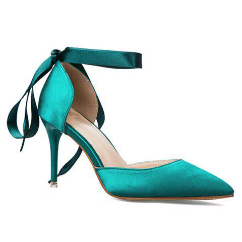 Best Satin Two Piece Tie Up Pumps GREEN 39