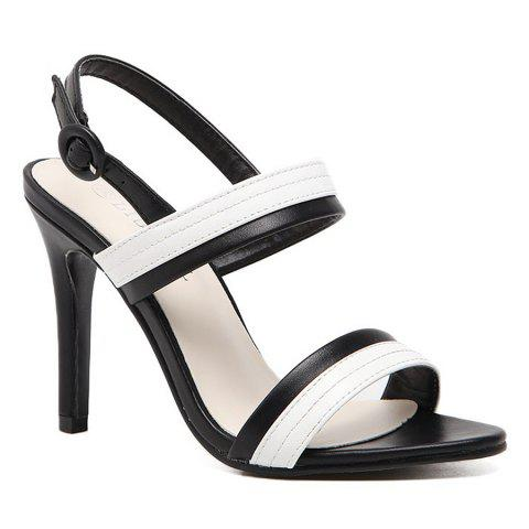 Shop Faux Leather Two Tone Sandals - 37 WHITE AND BLACK Mobile
