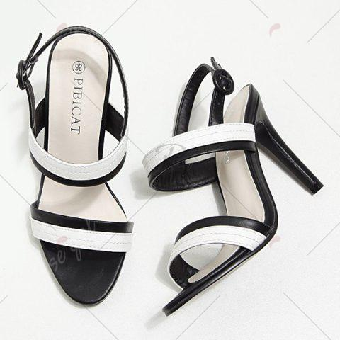 Best Faux Leather Two Tone Sandals - 37 WHITE AND BLACK Mobile