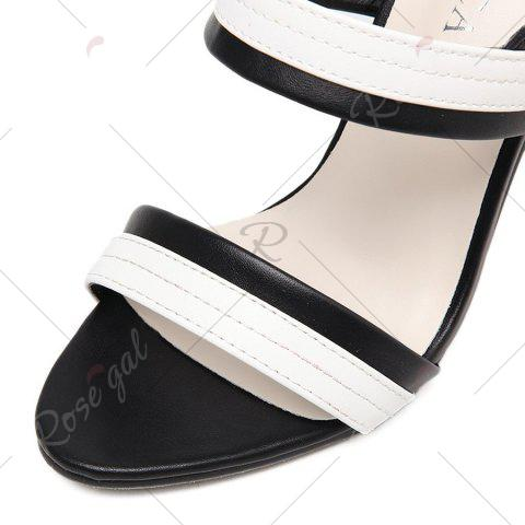 Fancy Faux Leather Two Tone Sandals - 37 WHITE AND BLACK Mobile