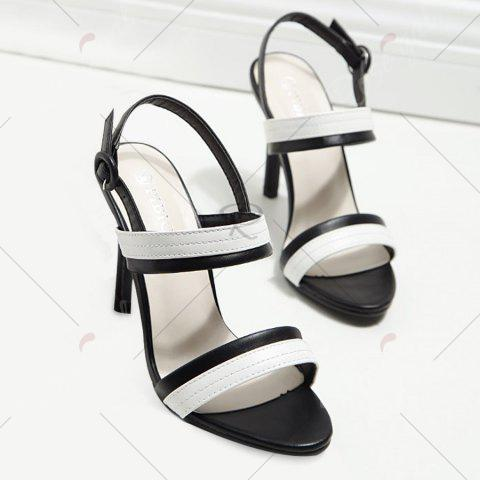 Latest Faux Leather Two Tone Sandals - 37 WHITE AND BLACK Mobile
