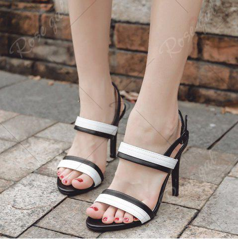 Hot Faux Leather Two Tone Sandals - 37 WHITE AND BLACK Mobile