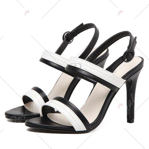 Affordable Faux Leather Two Tone Sandals - 37 WHITE AND BLACK Mobile
