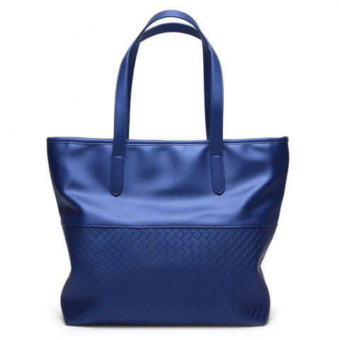 Faux Leather Woven Shopper Bag - Blue