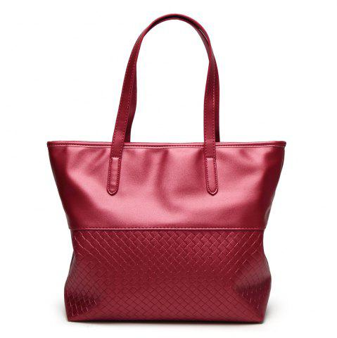 Outfit Faux Leather Woven Shopper Bag RED