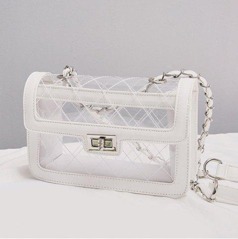 Chic Stitching Transparent Cross Body Bag - WHITE  Mobile