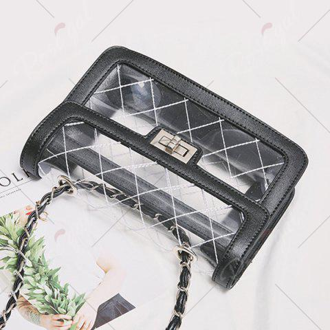 Outfits Stitching Transparent Cross Body Bag - BLACK  Mobile