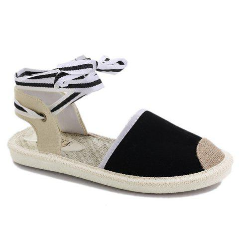 Outfits Canvas Slingback Tie Up Sandals - 39 BLACK Mobile