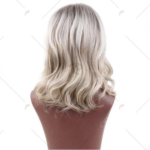 Unique Short Colormix Side Bang Slightly Curly Human Hair Wig - COLORMIX  Mobile