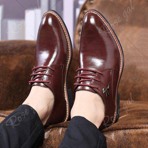 Chic Faux Leather Metal Embellishment Formal Shoes - 41 WINE RED Mobile