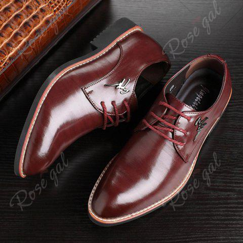 Shop Faux Leather Metal Embellishment Formal Shoes - 41 WINE RED Mobile