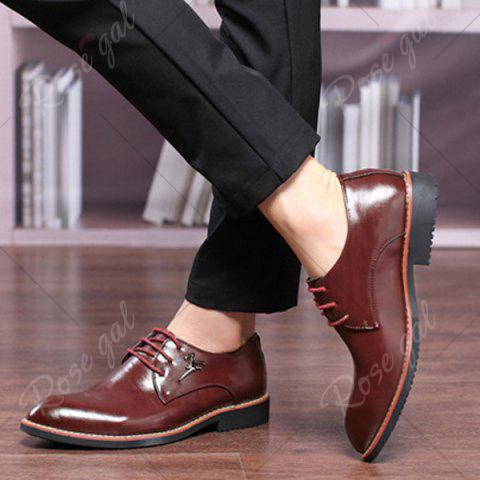 Shops Faux Leather Metal Embellishment Formal Shoes - 44 WINE RED Mobile