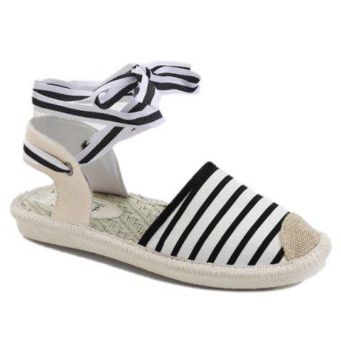 Canvas Slingback Tie Up Sandals Rayure 37