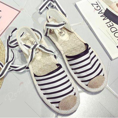 Outfit Canvas Slingback Tie Up Sandals - 37 STRIPE Mobile
