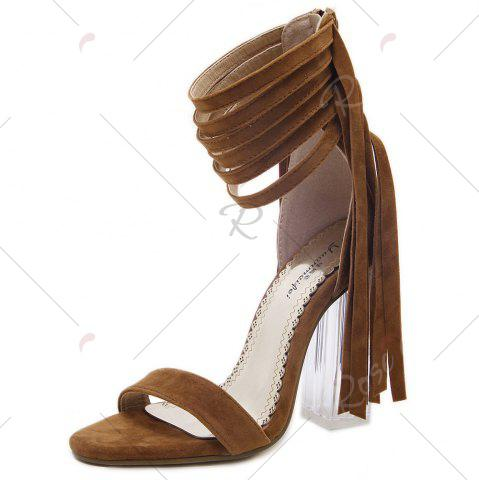 Buy Clear Heel Ankle Wrap Fringe Sandals - 39 BROWN Mobile