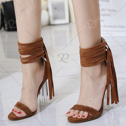 Sale Clear Heel Ankle Wrap Fringe Sandals - 39 BROWN Mobile