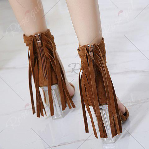 Online Clear Heel Ankle Wrap Fringe Sandals - 39 BROWN Mobile