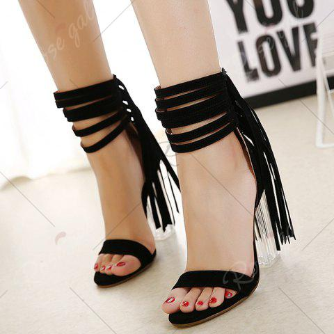 Cheap Clear Heel Ankle Wrap Fringe Sandals - 37 BLACK Mobile