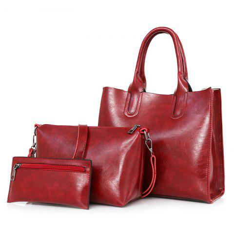 Discount PU Leather 3 Pieces Tote Bag Set - RED  Mobile