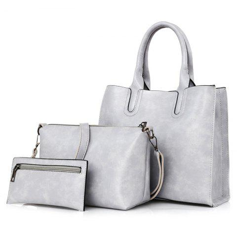 Outfits PU Leather 3 Pieces Tote Bag Set LIGHT GRAY