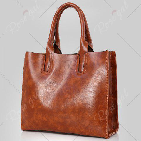 New PU Leather 3 Pieces Tote Bag Set - BROWN  Mobile