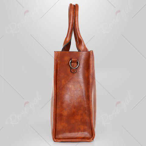 Fashion PU Leather 3 Pieces Tote Bag Set - BROWN  Mobile