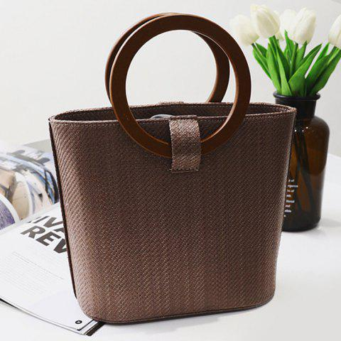 Latest Round Handle Woven Handbag