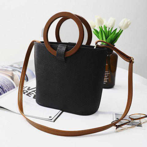 Outfit Round Handle Woven Handbag