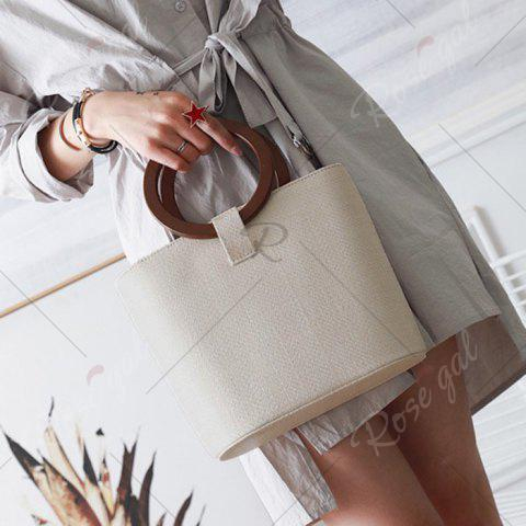 Store Round Handle Woven Handbag - BEIGE  Mobile