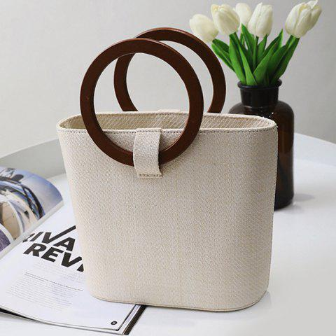 Fancy Round Handle Woven Handbag - BEIGE  Mobile