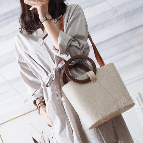 Buy Round Handle Woven Handbag - BEIGE  Mobile