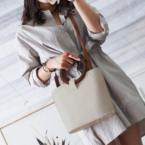 Outfit Round Handle Woven Handbag - BEIGE  Mobile