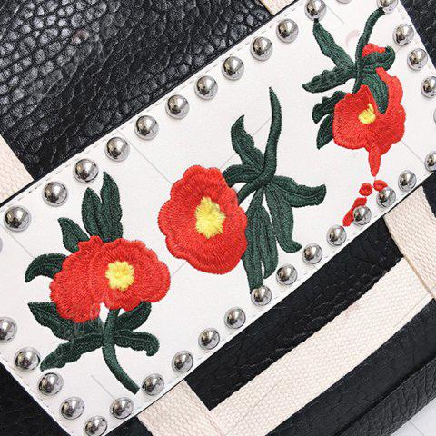 Buy Flower Embroidered PU Leather Tote Bag - BLACK  Mobile