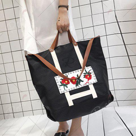 Unique Flower Embroidered PU Leather Tote Bag - BLACK  Mobile