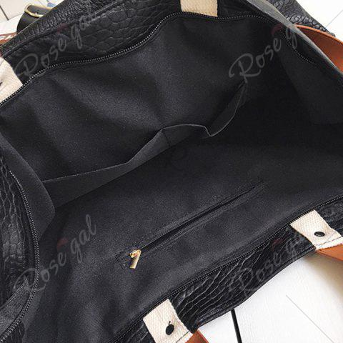 Outfit Flower Embroidered PU Leather Tote Bag - BLACK  Mobile