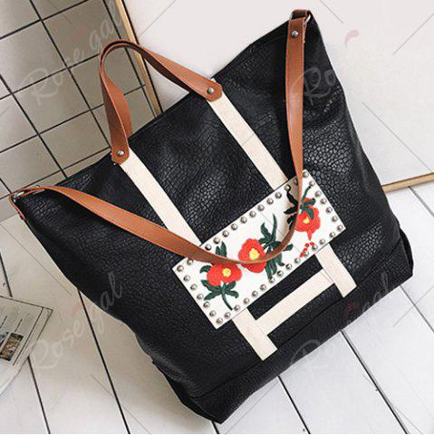 Outfits Flower Embroidered PU Leather Tote Bag - BLACK  Mobile